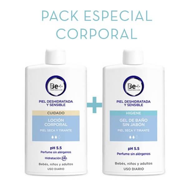 Be+ locion corporal 400 ml + gel de baño sin jabon 400 ml