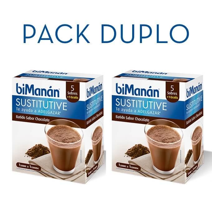 Bimanan Sustitutive Batido Chocolate Sobres Duplo 6+6 Sobres