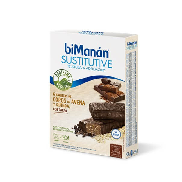 Bimanan sustitutive 6 barritas sabor cacao