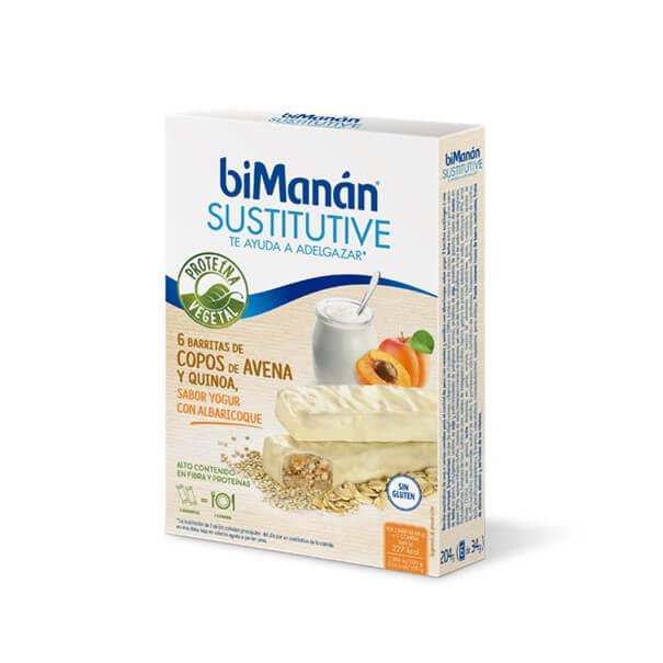 Bimanan sustitutive 6 barritas sabor yogur con albaricoque