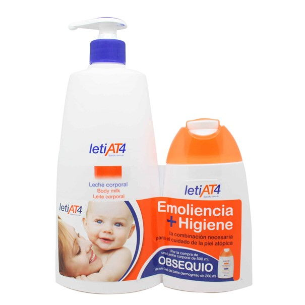 Leti at4 leche corporal con dosificador 500 ml + gel baño dermograso 200ml regalo