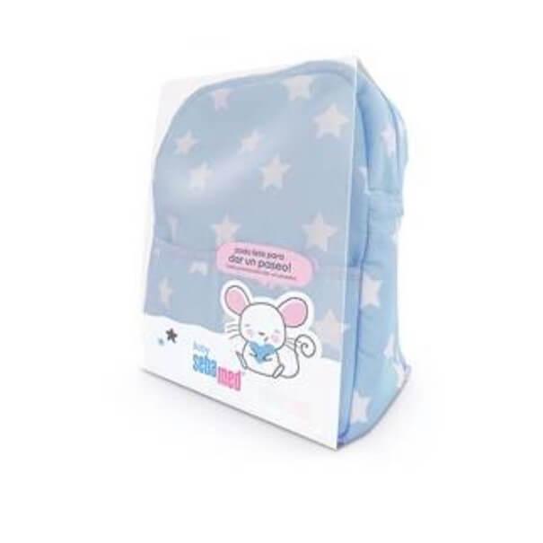 Mochila + Productos cuidado bebé sebamed baby azul