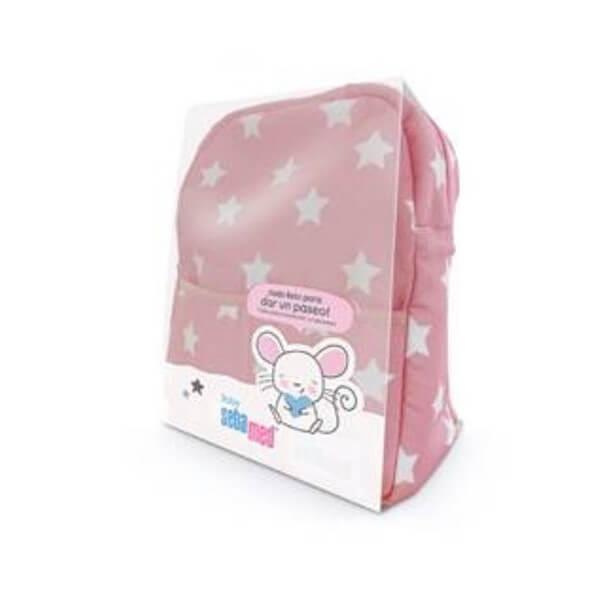 Mochila + Productos cuidado bebé sebamed baby rosa