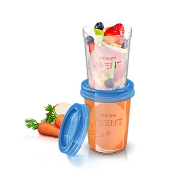 Avent vasos almacenamiento comida reutilizables 6+m 5 vasos 240ml