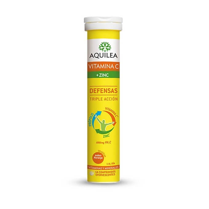 Aquilea Vitamina C + Zinc Defensas Triple Accion 14 Comprimidos Efervescentes