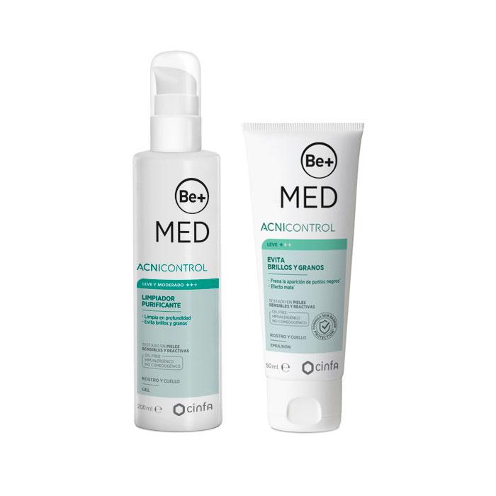 Be+ Med Acnicontrol Pack Limpiador Purificante 200ml + Evita Brillos y Granos 50ml