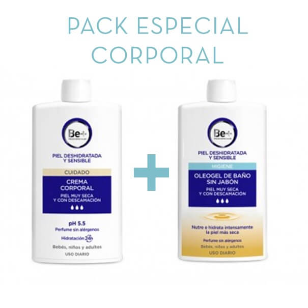 Be+ crema corporal 400 ml + oleogel de baño 400 ml