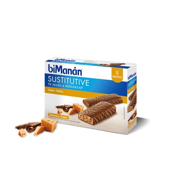 Bimanan sustitutive barritas sabor toffee 8 unidades
