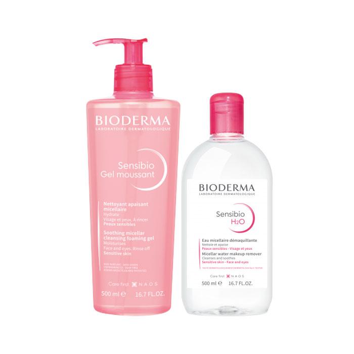 Bioderma Pack Sensibio Gel Moussant Piel Sensible 500ml + Sensibio H2o Agua Micelar 500ml