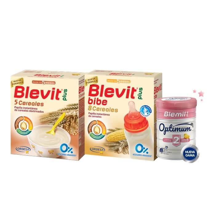 Blevit Pack 5 Cereales 600g + 8 Cereales Bibe 600g + Blemil 2 Optimum 400g