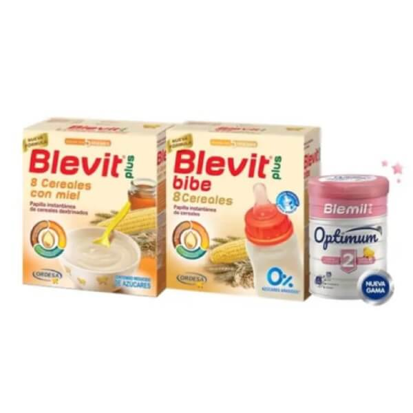 Blevit Pack 8 Cereales Miel 600g + 8 Cereales Bibe 600g + Blemil 2 Optimum 400g