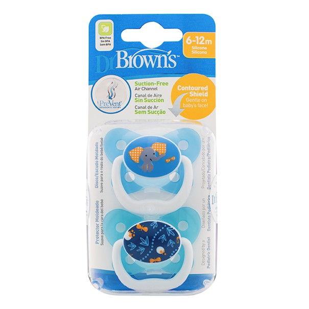 Chupete Silicona Prevent Escudo Mariposa Dr Brown´s 6-12 M Azul