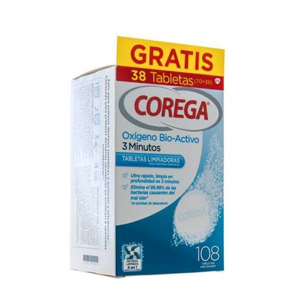 Corega oxigeno bio-activo 108 tabletas