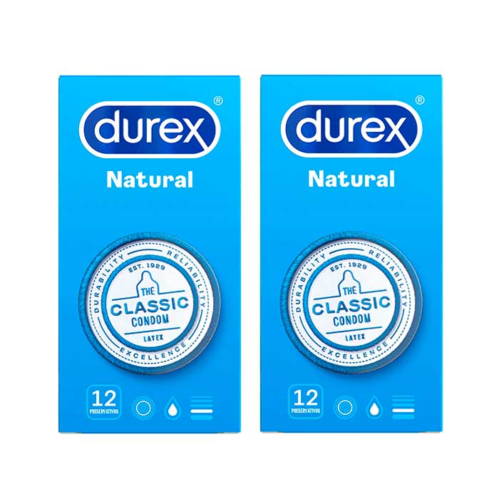 Durex Preservativo Natural Classic Duplo 12+12 Unidades
