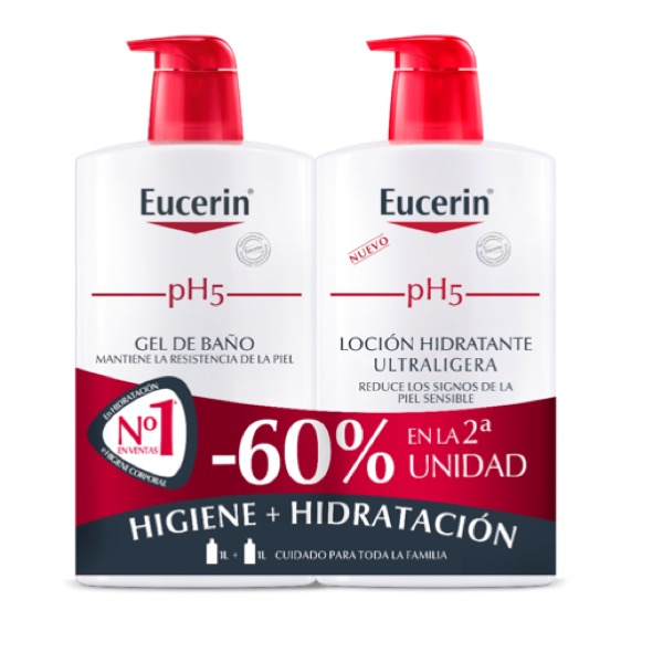 Eucerin gel baño 1000ml + locion ultraligera 1000ml