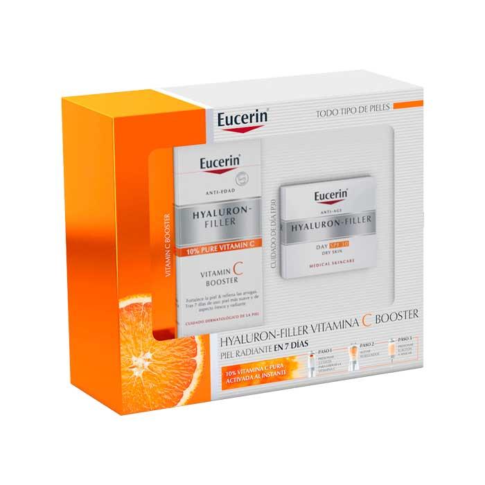Eucerin Pack Hyaluron Filler Vitamin C Booster 8ml + Hyaluron Filler Crema Dia Fps30 50ml