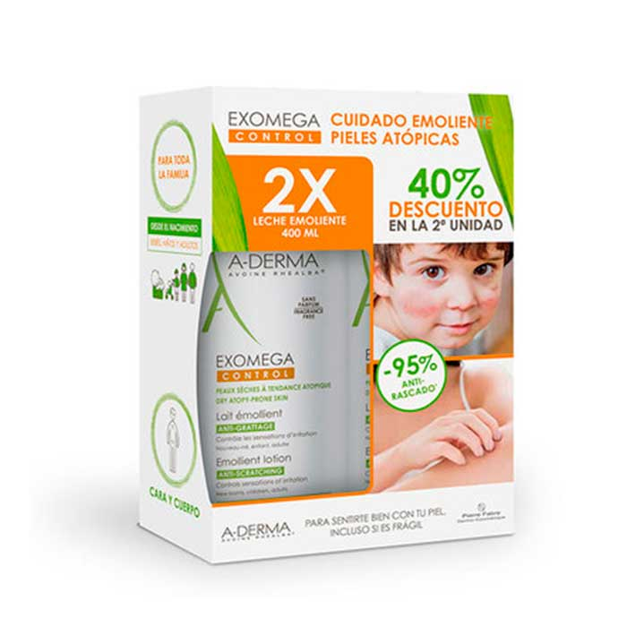 A-derma Exomega Control Leche Emoliente Duplo 400ml+400ml
