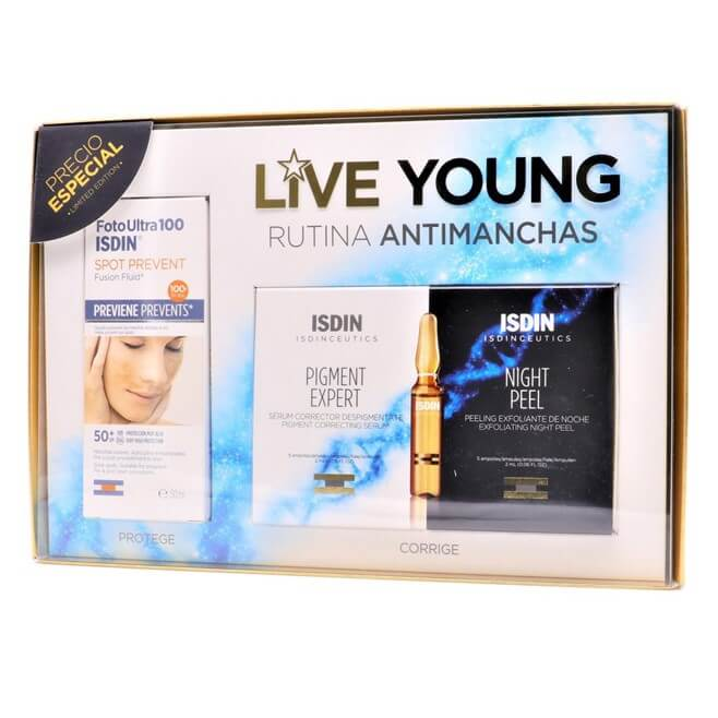 Isdin Pack Live Young Spot Prevent + Pigment Expert 5 Ampollas + Night Peel 5 Ampollas
