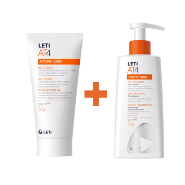 Leti at4 crema intensiva 100 ml + gel baño dermograso 250 ml