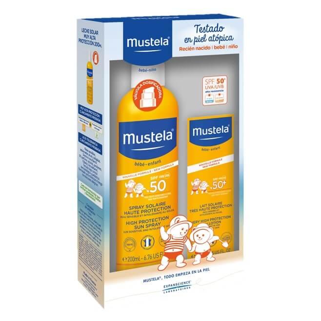 Mustela Pack Solar Infantil Leche Facial 40ml Spf50 + Spray Spf50 200ml