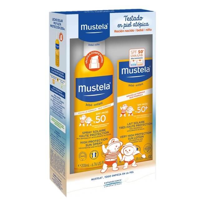 Mustela Pack Solar Infantil Leche Cara y Cuerpo Spf50 100ml + Spray Spf50 200ml