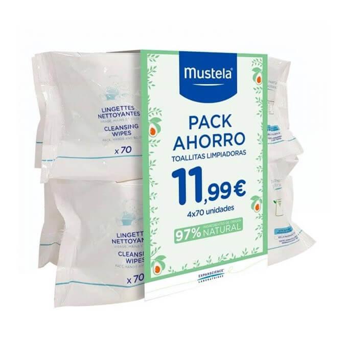 Mustela Toallitas Dermo-Suavizantes Pack 4x70 Uds