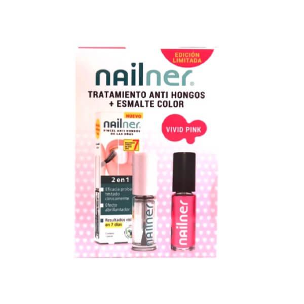 Nailner pincel hongos uñas 2 en 1 + Esmalte Color Vivid Pink