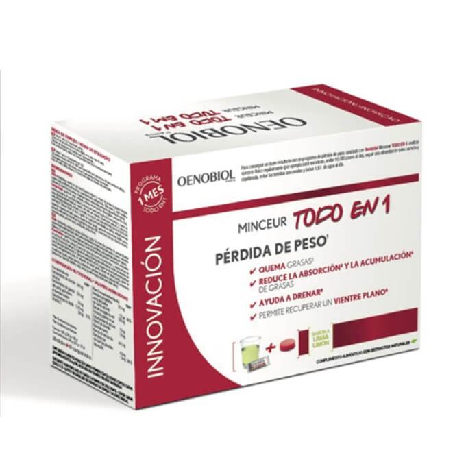 Oenobiol Minceur Todo En 1 Perdida de Peso 30 Stick + 60 Comprimidos