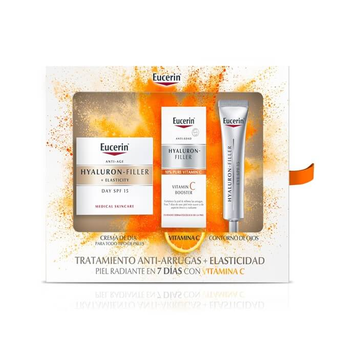 Eucerin Pack Hyaluron Filler Elasticity 50ml +vitamin C Booster 8ml + Contorno Ojos 15ml