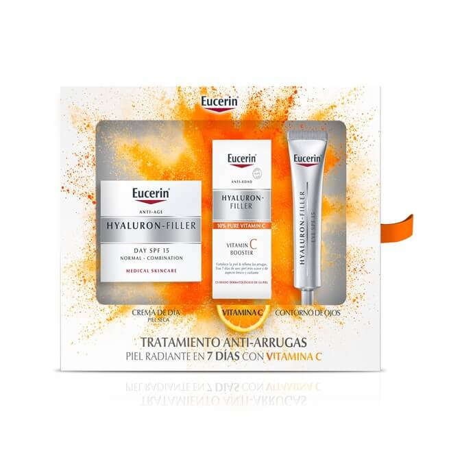 Eucerin Pack Hyaluron Filler Piel Seca 50ml +vitamin C Booster 8ml + Contorno Ojos 15ml