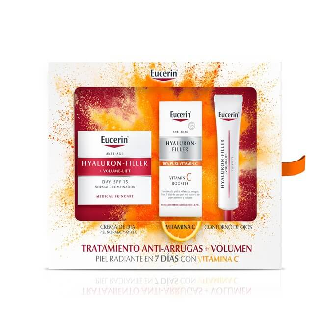 Eucerin Pack Hyaluron Filler Volume Lift Piel Normal/mixta + Vitamin C Booster + Contorno de Ojos