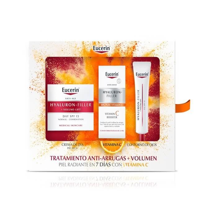 Eucerin Pack Hyaluron Filler Volume Lift Piel Seca + Vitamin C Booster + Contorno de Ojos