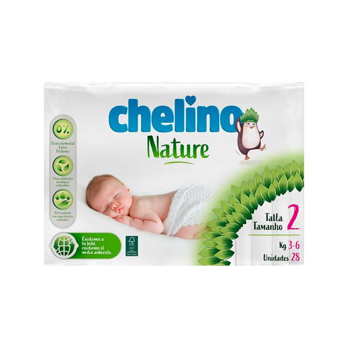 Pañal Chelino Nature Talla 2 (3-6 Kg) 28 Unidades