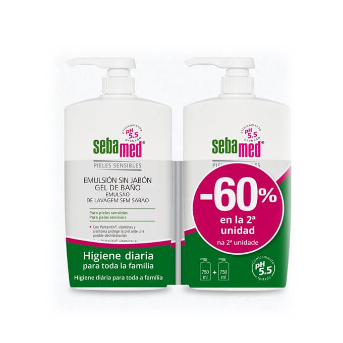 Sebamed Emulsion Sin Jabon Gel de Baño Duplo 750ml+750ml