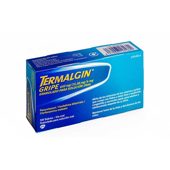 Termalgin Gripe 650 mg/15,58 mg/4 mg Granulado Para Solucion Oral 10 Sobres