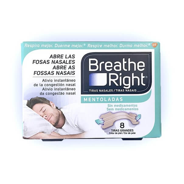 Breathe right mentoladas 8 tiras grandes