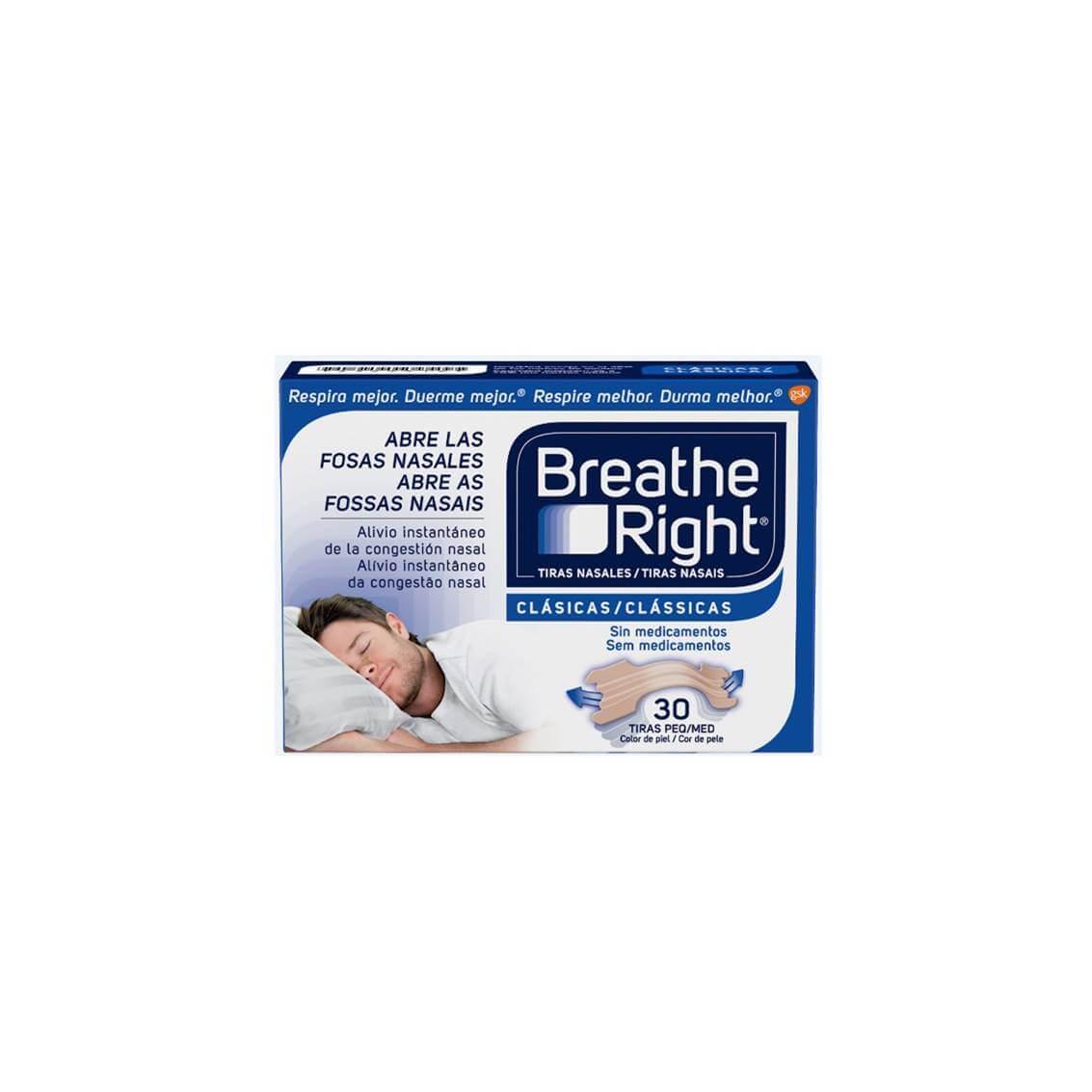 Breathe right 30 tiras nasales tamaño pequeño/mediano